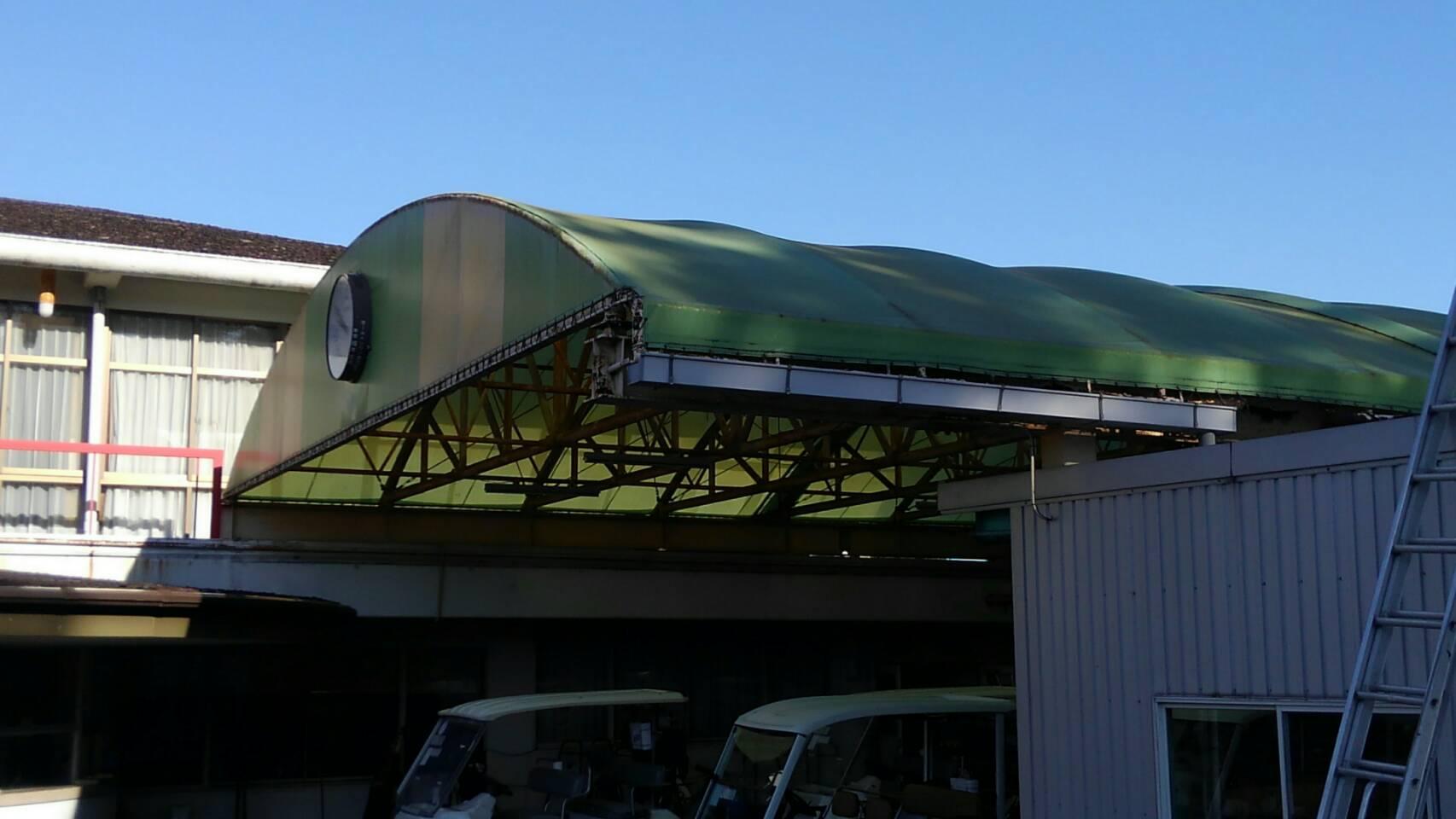 大分カントリー カート置場 テント張替を致しました。