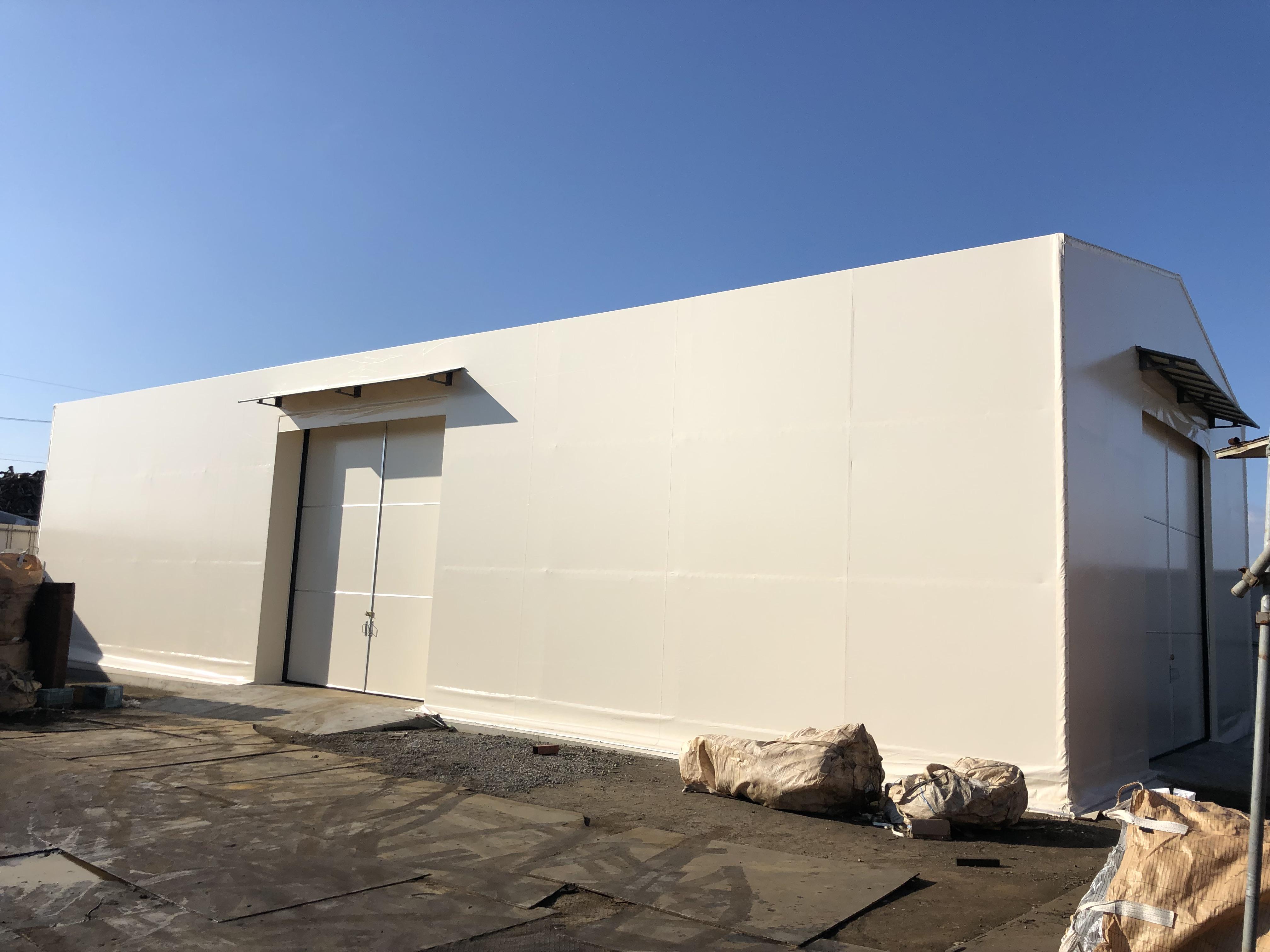 大分県大分市 テント倉庫を新設させていただきました。