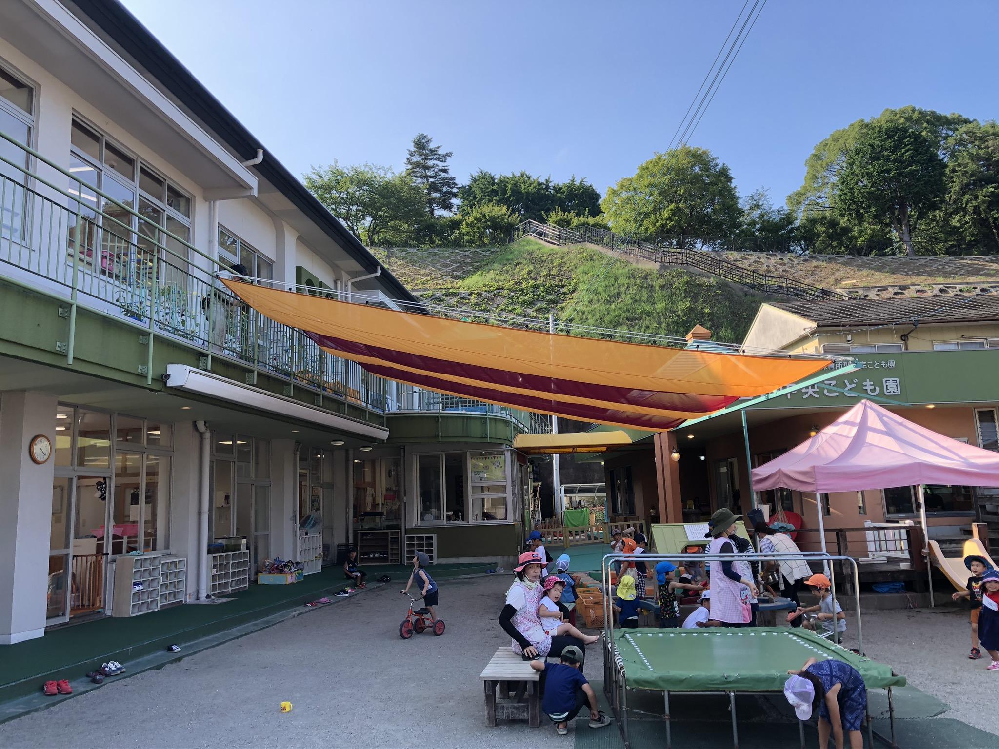 大分県 臼杵市の保育園にて日よけ天幕を施工いたしました。