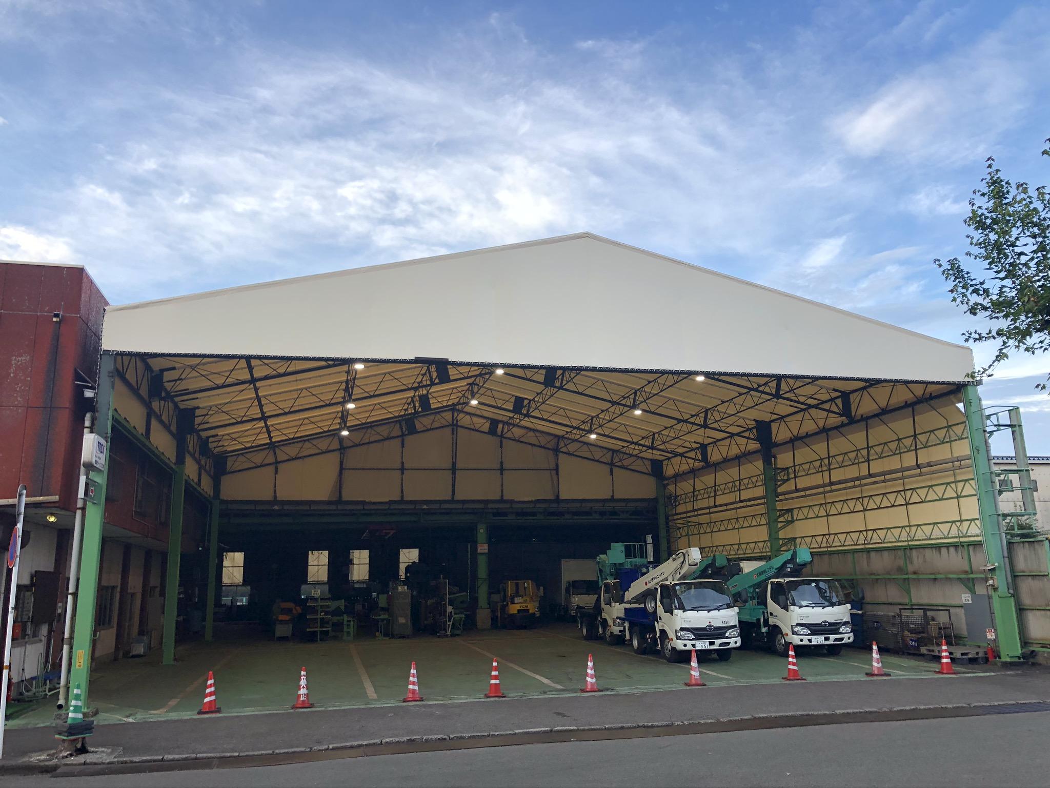 大分県大分市 工場のテント天幕張替えを施工させていただきました。